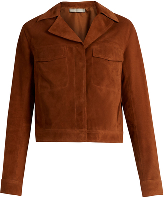 VINCE Notch-lapel suede jacket $1,318 thestylecure.com