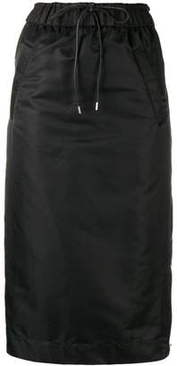 Sacai drawstring flared midi skirt