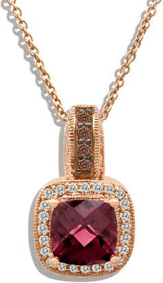 LeVian CORP Grand Sample Sale by Le Vian Raspberry Rhodolite & 1/4 CT. T.W. Vanilla Diamonds and Chocolate Diamonds Pendant in 14K Strawberry Gold