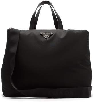 Prada Logo Plaque Nylon Tote - Womens - Black