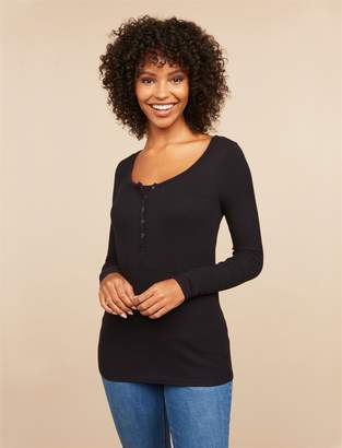 Motherhood Maternity Button Down Henley Nursing Top