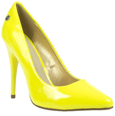 Blink Womens Ladies Yellow High Heel Stiletto Neon Court Shoes