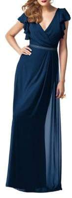 Dessy Collection Full Length Lux Shimmer Chiffon Dress