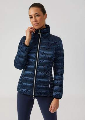 Emporio Armani Ea7 Quilted Jacket In Fabric With Flocked Floral Print