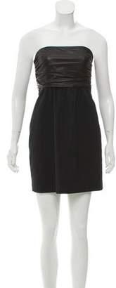 Theory Leather-Paneled Strapless Dress