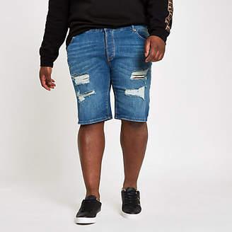 River Island Big and Tall blue skinny ripped denim shorts