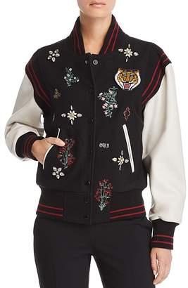 Joie Asuna Leather-Sleeve Embellished Bomber Jacket