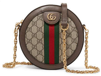 Gucci Ophidia Mini Textured Leather-trimmed Printed Coated-canvas Shoulder Bag - Beige
