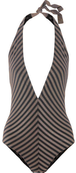 Backgammon Fair Play Striped Stretch-lurex Halterneck Swimsuit – Black
