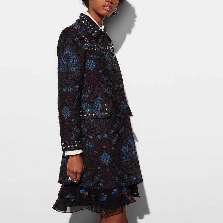 Coach  COACH Coach Studded Tapestry Coat