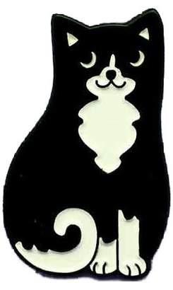 Punky Pins Black & White Cat Enamel Pin Badge