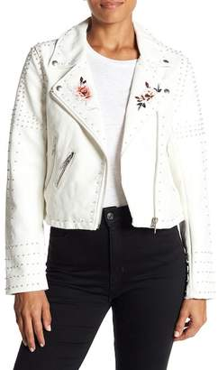 Blank NYC BLANKNYC Denim Stud Floral Moto Faux Leather Jacket