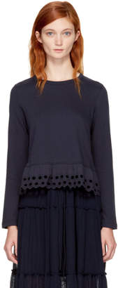 See by Chloe Navy Long Sleeve Eyelet T-Shirt