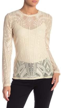BCBGMAXAZRIA Agda Long Sleeve Lace Top