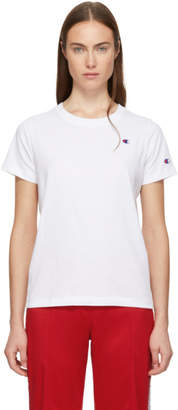 Champion Reverse Weave White Small Logo T-Shirt