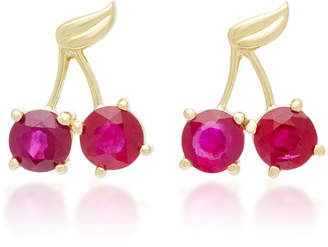 Established Cherry Charm 18K Gold Ruby Earrings