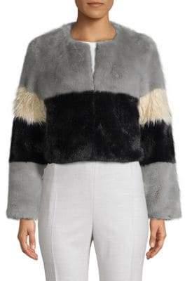 Colorblock Faux Fur Cropped Jacket