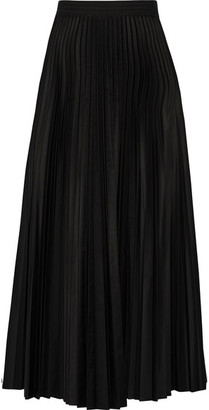 Theory - Dorothea Pleated Shell Midi Skirt - Black $395 thestylecure.com