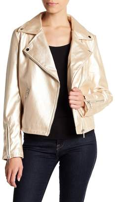 Bagatelle Metallic Faux Leather Moto Jacket