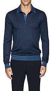 Cifonelli Men's Herringbone Cashmere-Silk Polo Shirt - Navy