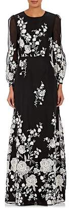 Co WOMEN'S EMBROIDERED MOUSSELINE GOWN - WHT.&BLK. SIZE M