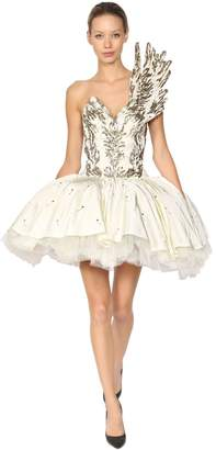 Moschino Winged Ballerina Bustier Shantung Dress