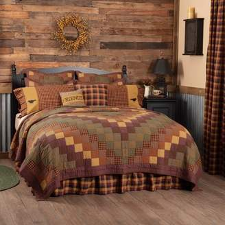 Ashton & Willow Burgundy Red Primitive Bedding Settlement Cotton Pre-Washed Patchwork Luxury King Quilt