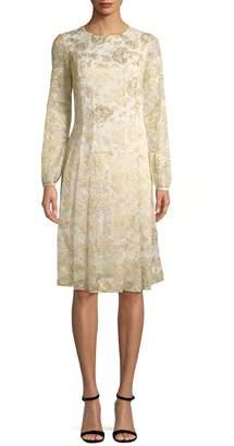 Oscar de la Renta Women's Foil Print A-Line Dress