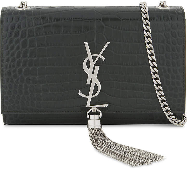 Saint Laurent Kate crocodile-embossed leather cross-body bag