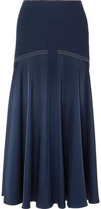 Sonia Rykiel Satin Midi Skirt - Navy