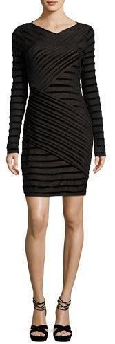 BCBGMAXAZRIABCBGMAXAZRIA Jersey & Velvet Long-Sleeve Bandage Dress, Black Combo
