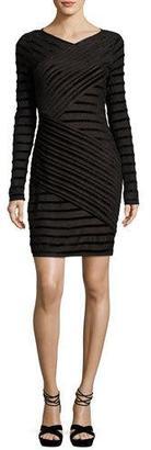 BCBGMAXAZRIA Jersey & Velvet Long-Sleeve Bandage Dress, Black Combo $178 thestylecure.com