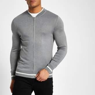 River Island Mens Grey zip front slim fit bomber cardigan