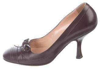 Chanel Leather Square-Toe Pumps