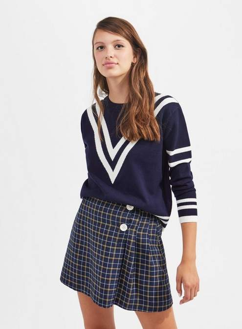 Navy chevron compact knitted jumper
