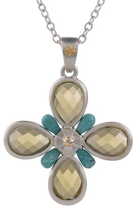 Elizabeth Showers Sterling 6.0 ct twLimonQuartzCross Enhancer