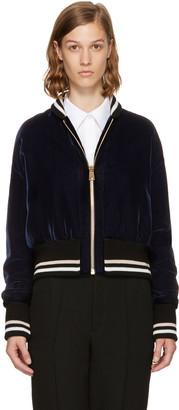 Lanvin Blue Short Velvet Bomber Jacket $2,085 thestylecure.com