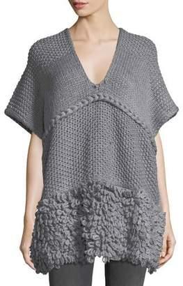 Rebecca Minkoff V-Neck Knit Poncho w/ Looped Yarn Trim