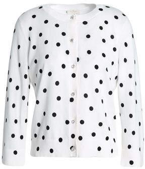 Kate Spade Embellished Polka-Dot Cotton Cardigan