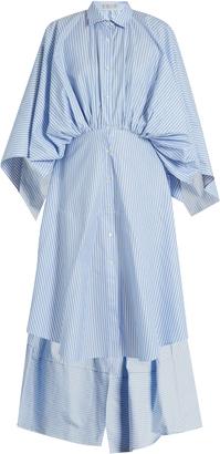 PALMER/HARDING Open-back gathered-waist striped shirtdress