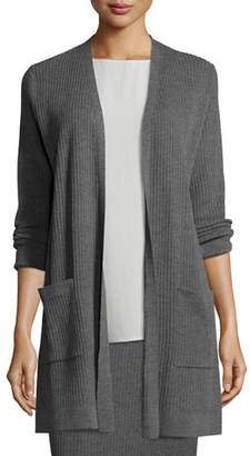 Eileen Fisher Washable Wool Ribbed Long Cardigan, Plus Size