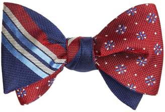 Brooks Brothers Multi-Textured Sidewheeler Stripe with Textured Four-Petal Flower Reversible Bow Tie