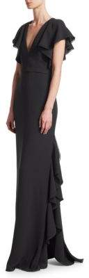 ML Monique Lhuillier V-Neck Cap-Sleeve Ruffle Floor-Length Dress