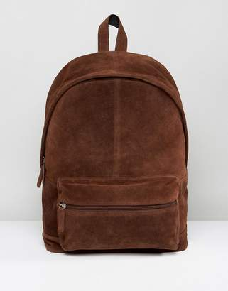 Asos Backpack In Brown Suede