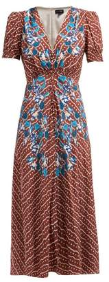 Saloni Lea Polka Dot Silk Crepe Midi Dress - Womens - Brown Multi