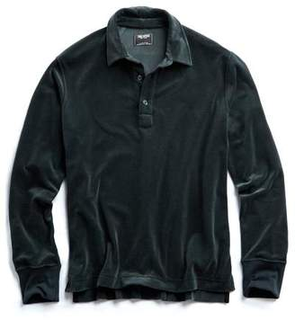 Todd Snyder Velour Long Sleeve Polo in Green