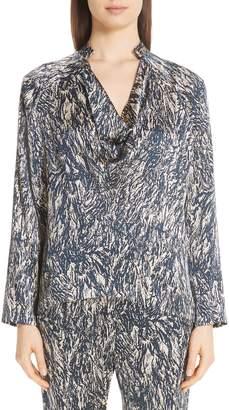 Zero Maria Cornejo Hair Print Stretch Silk Cowl Blouse
