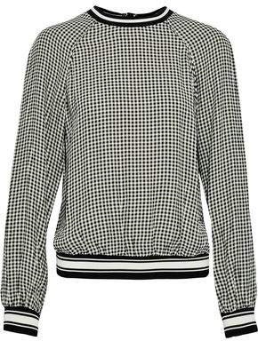 Zimmermann Ribbed Knit-Trimmed Gingham Crepe De Chine Top