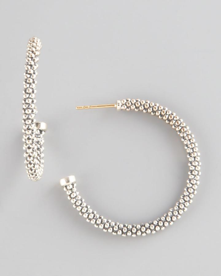 "Lagos Thin Caviar Hoop Earrings, 1"""