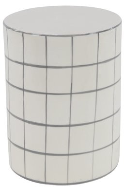DecMode Decmode Modern 16 X 12 Inch White Cylindrical Ceramic Stool